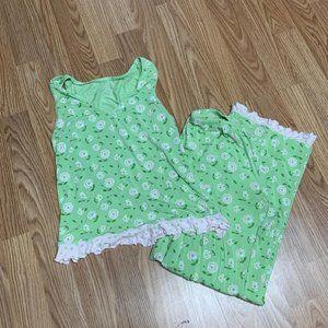 Gap Womans PJs Sz XS Green Top Pants Summer MN3